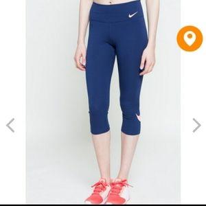 Nike Dri-Fit Capri Leggings Navy/Neon Swish L